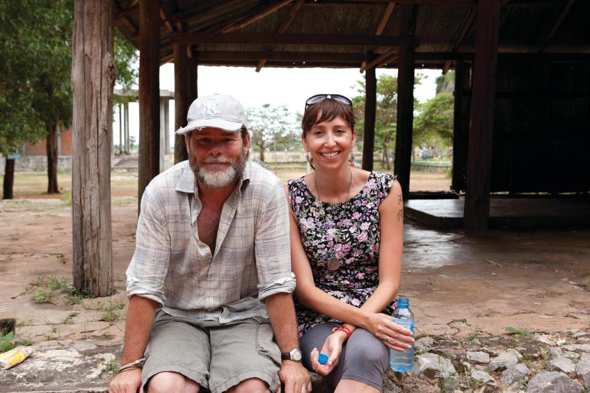 Kieran with producer Angie Fielder on set in Cambodia