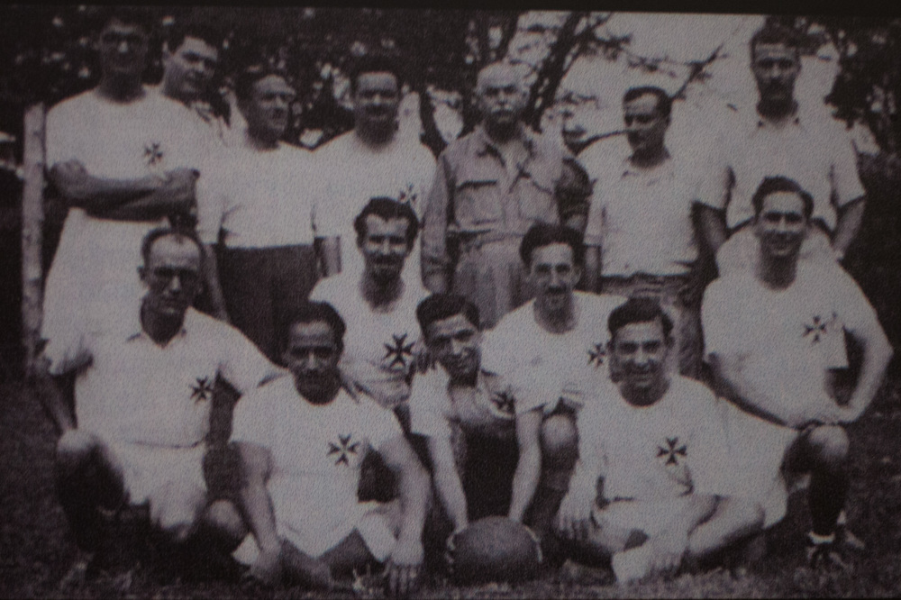 Enrico with the Maltese internee football team