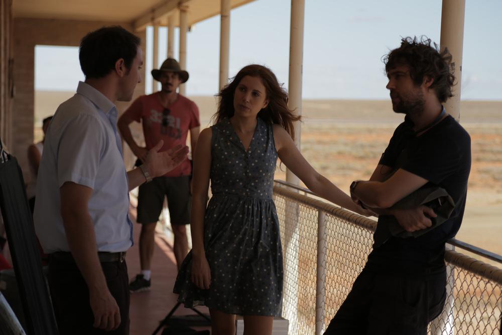 Director Hugh Sullivan with Josh McConville and Hannah Marshall (photo by Brendan Cain)