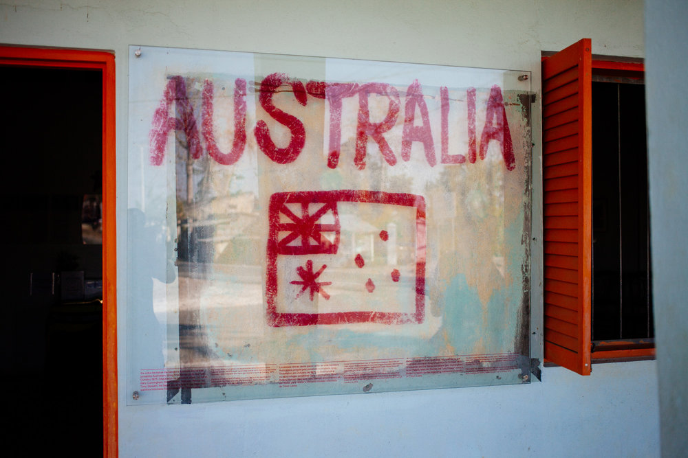 This is the original Australian flag painted on the Balibo Hilton by the Balibo 5
