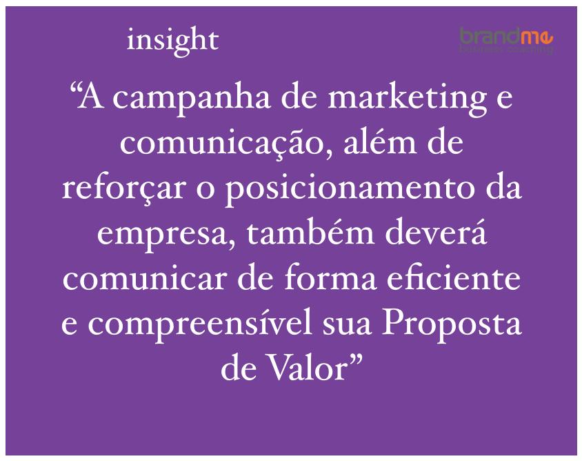 A campanha de marketing e comunicação, além de reforçar o posicionamento da empresa, deverá comunicar de forma eficiente e compreensível sua proposta de valor - planejamento estratégico e de marketing