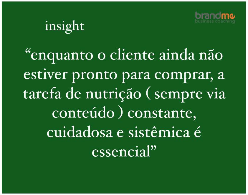 Enquanto o cliente ainda não estiver pronto para comprar, a tarefa de nutrição (sempre via conteúdo) constante, cuidadosa e sistêmica é essencial - Planejamento Estratégico e Marketing