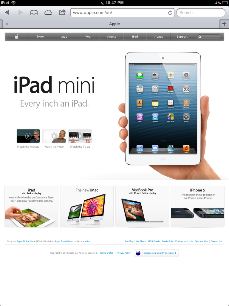 Apple's Australian website viewed from the iPad mini. Links quite visible.