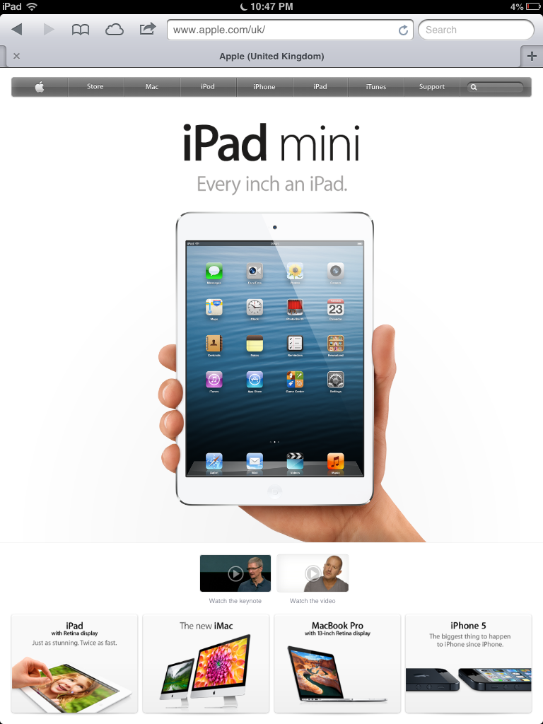Apple's UK website viewed from the iPad mini... no links visible at bottom of page.