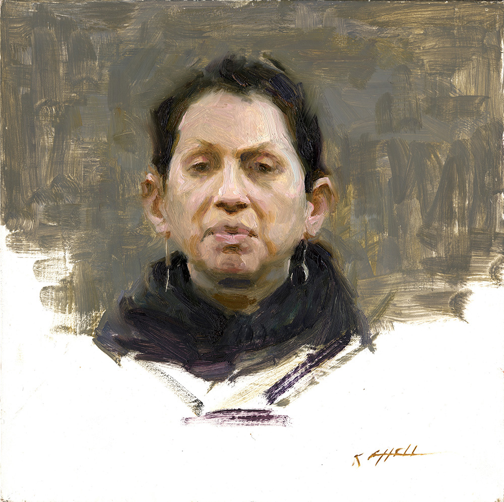 "The Observer, 10""x10"", oil on board"