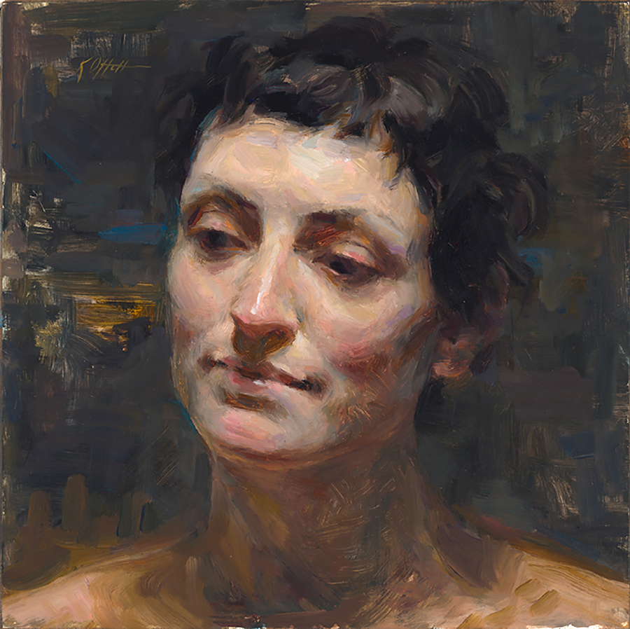"Lena, 10""x10"", oil on board, SOLD"