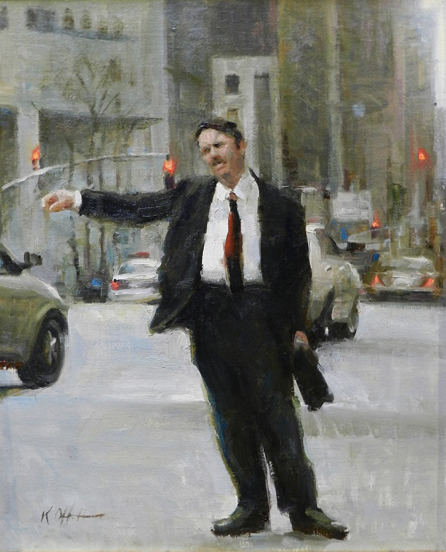 "Hailing a Cab, 15""x12"", oil on canvas, Jack Meier Gallery"