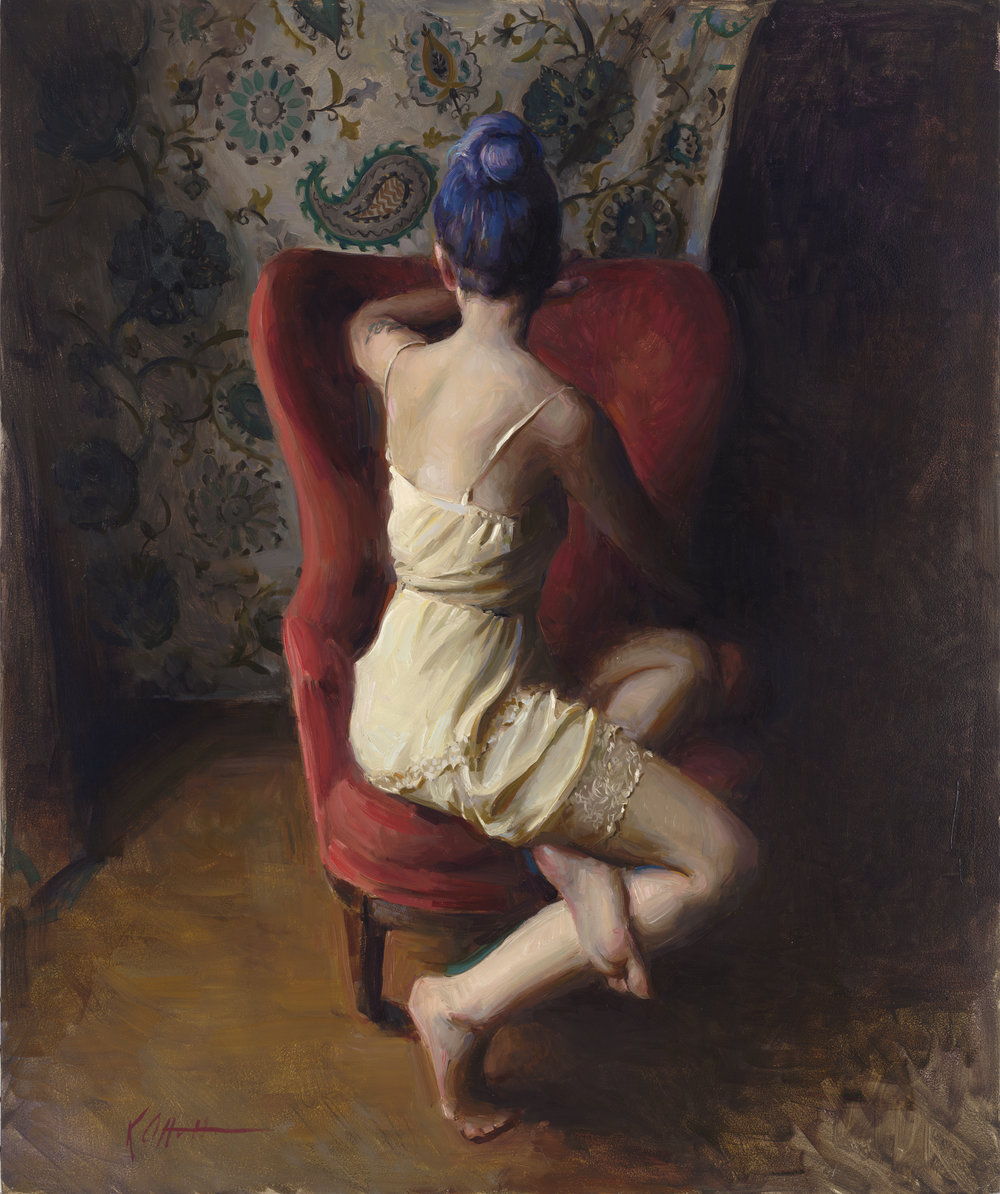 "Seated Figure, 24""x20"", oil on board, SOLD"