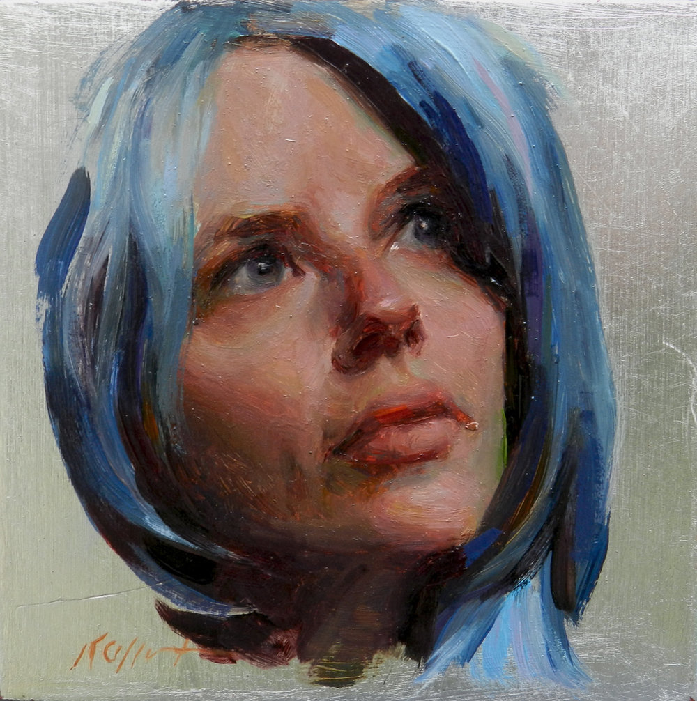 "Rebecca in Blue, 5""x5"", oil on silver leafed board, Abend Gallery"