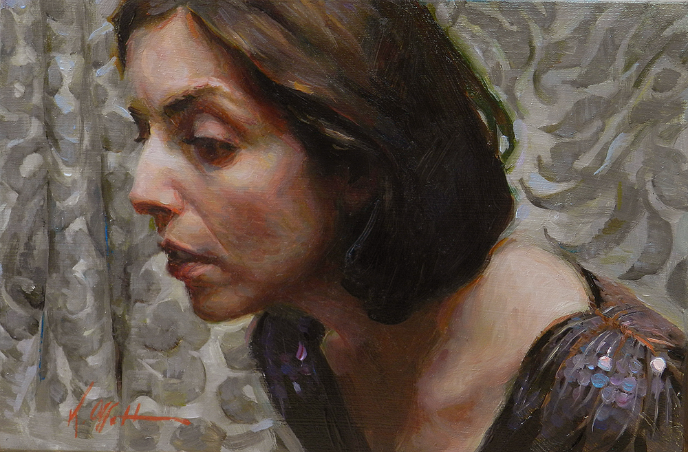 "Contained, 6""x9"", oil on board, Abend Gallery"