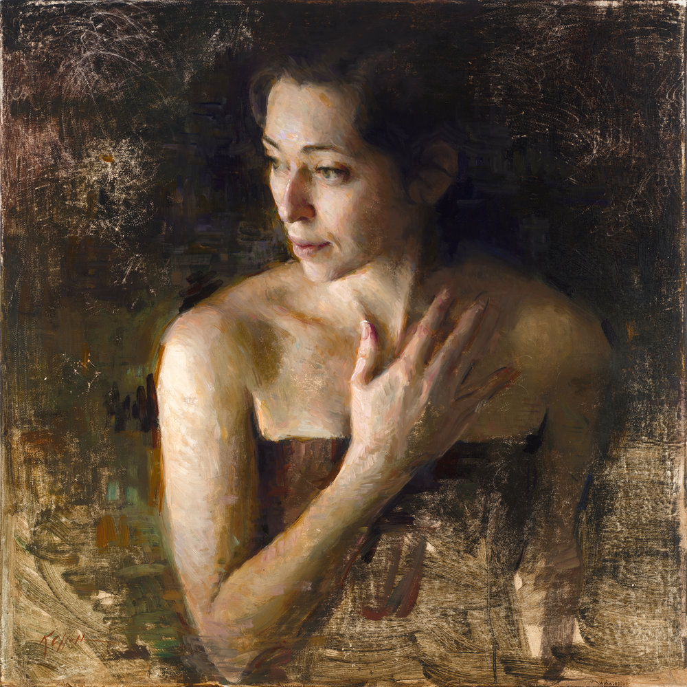 "Fading, 30""x30"", oil on board"