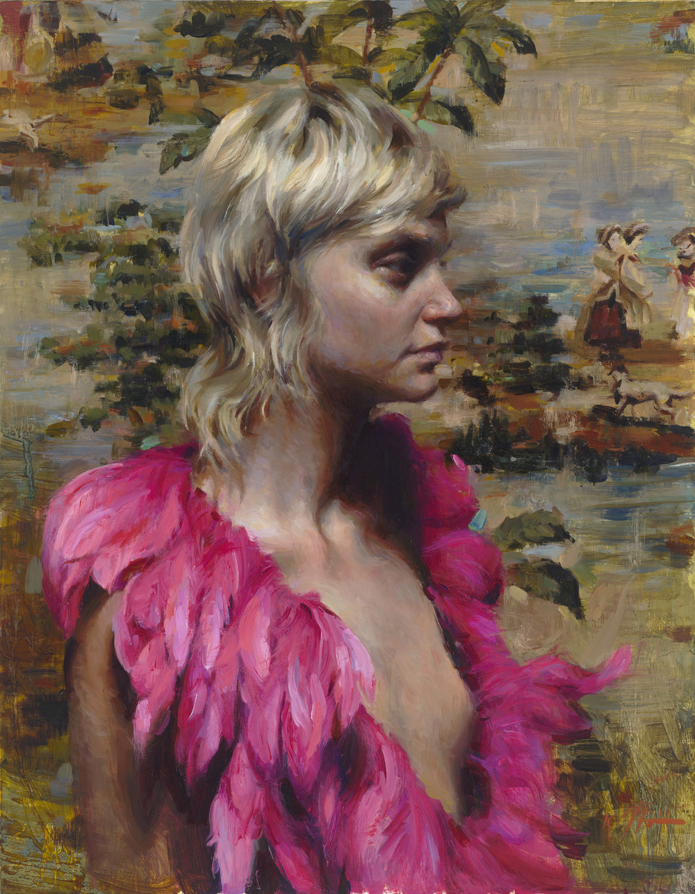 "Pink Plumes, 18""x14"", oil on canvas"