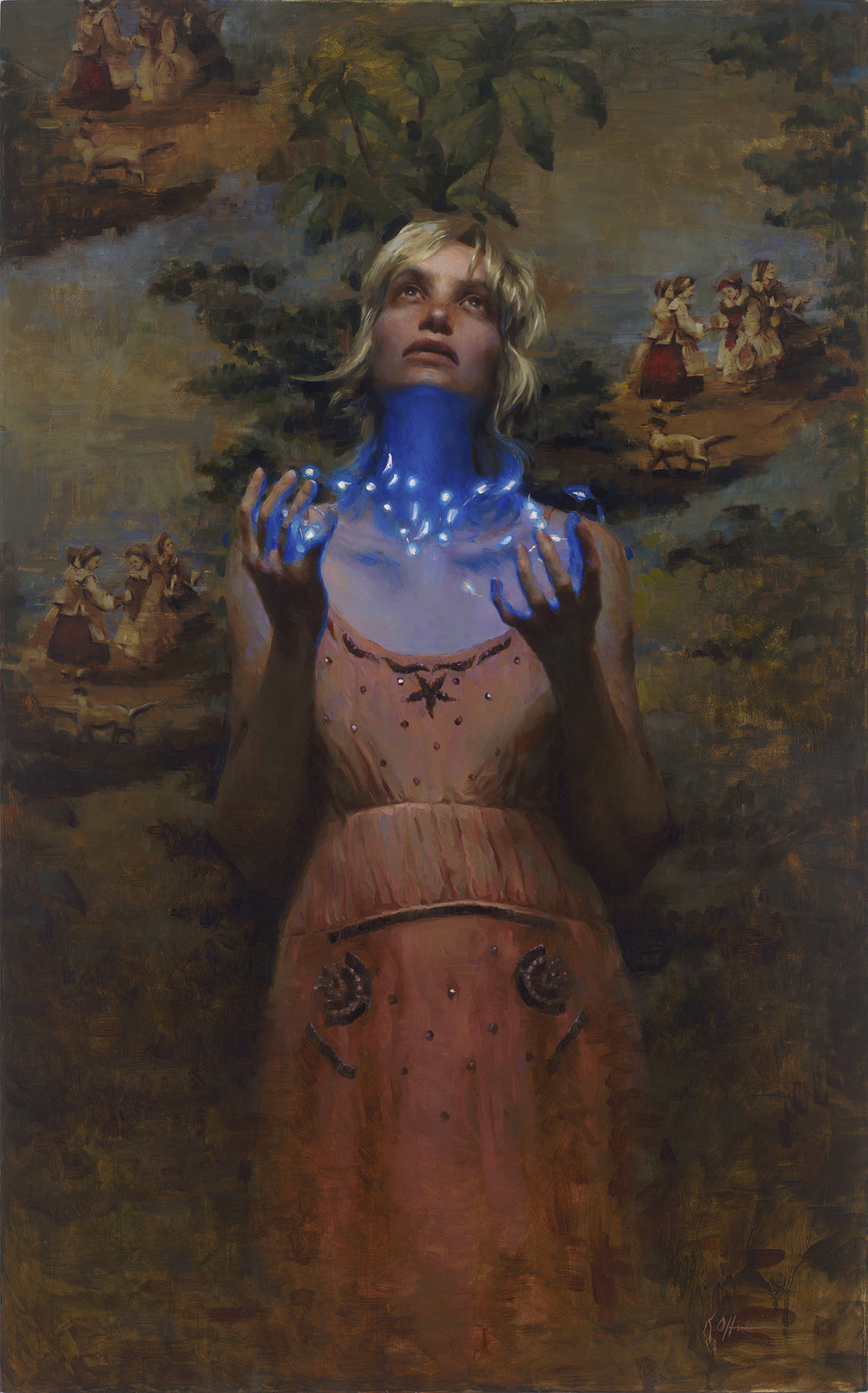 "Conjuring, 45""x28, oil on board - Contact Karen About This Artwork"