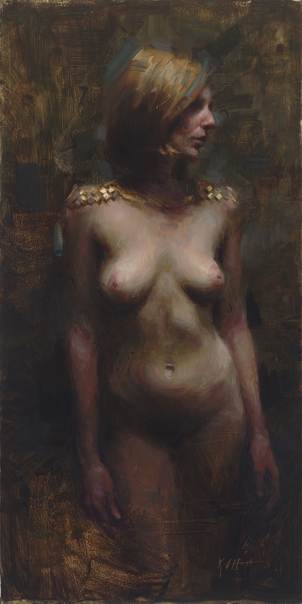 "Standing Nude, 20""x10"", oil on board"