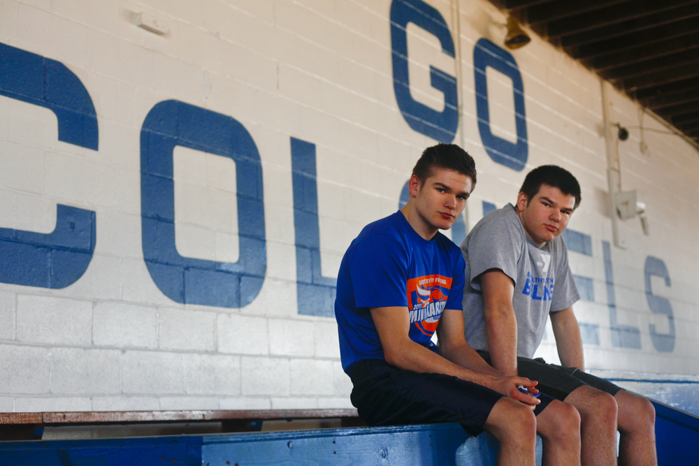 Oldham County's Brady Emerson, left,, and his twin brother, Max, will enter this years state wrestling duals with winning records. Brady, who competes in the 126-pound weight class, is 32-3 while Max is 33-2 in the 170-pound weight class.