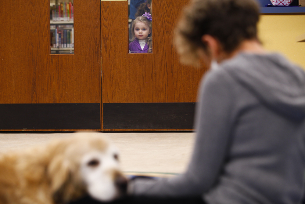 Emily Kemper looks in on the PAWs to Read Program. Kemper was visiting the library to celebrate her third birthday.