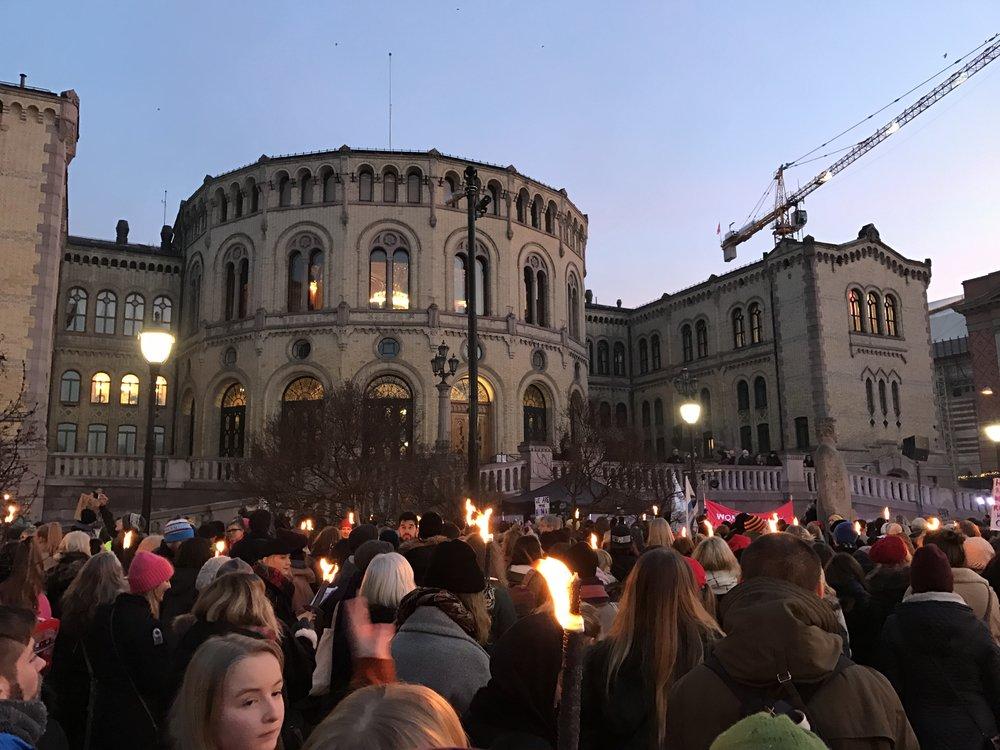 Bilde fra Womens March i Oslo, 21. januar. Foto: Katarina Storalm
