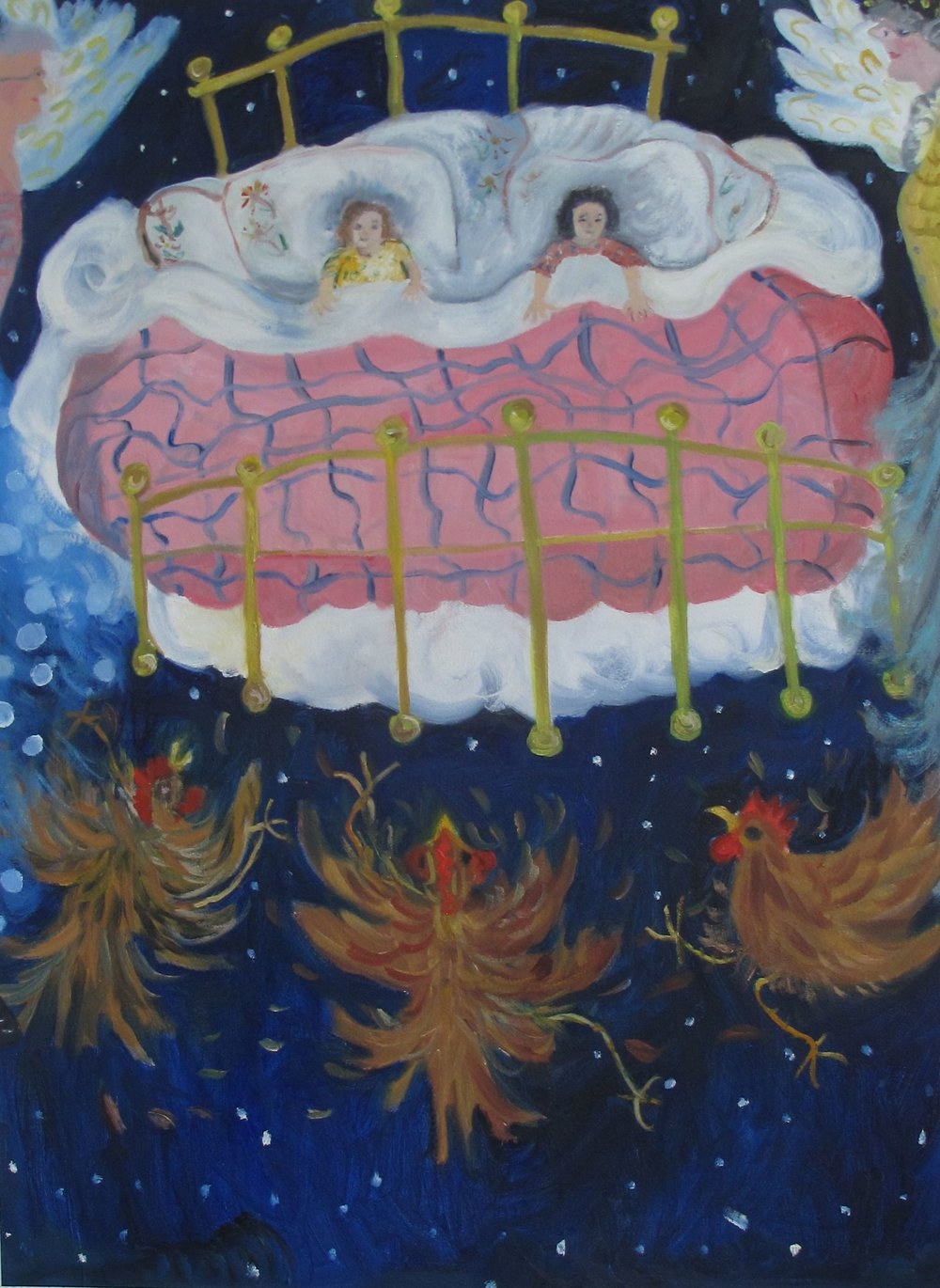 """We Slept in a Feather Bed"" oil on paper, available as a Giclee on canvas  for $150"