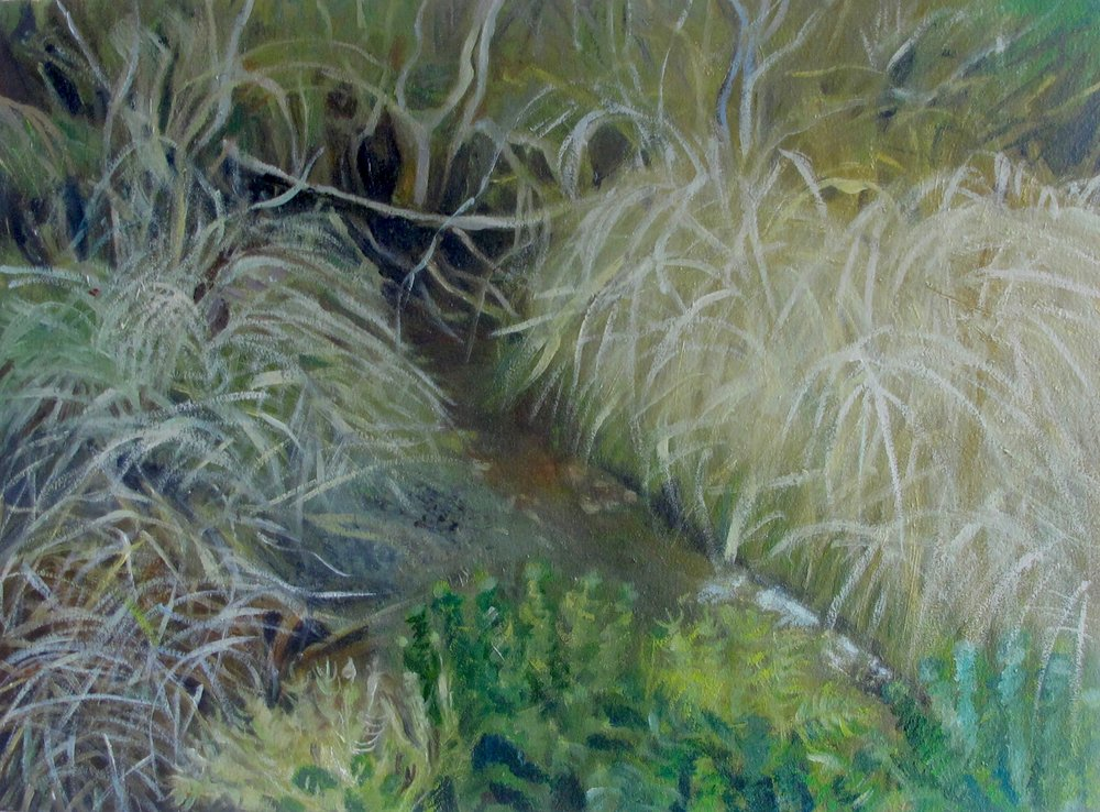 """Through The Marsh"" oil on paper 12 x 16"""