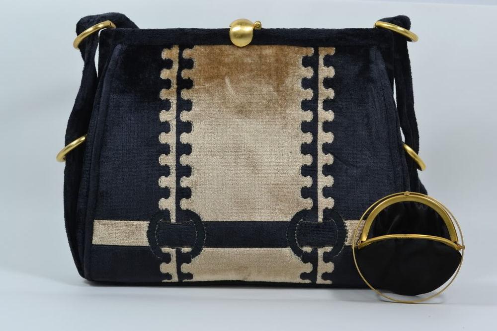 Black Champagne velvet satchel