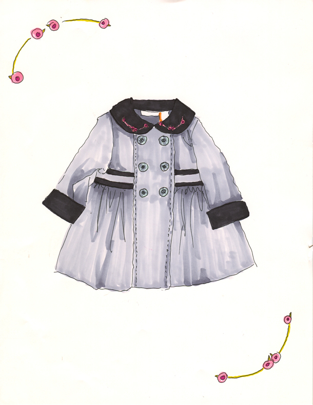 Easter coat for a 1 year old girl. A perfect gift for a friend who's having a little girl now...She'll be just the right age at Easter and until then mom can enjoy a pretty illustration personalized just for her babe.
