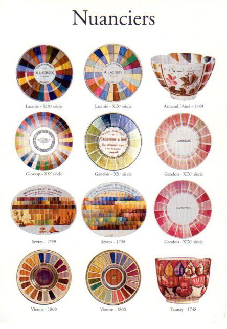 (left to right, top to bottom)1 & 2 : Assiettes-échantillons, porcelaine dure, A. Lacroix, Paris, D. 24 cm. 3 : Gobelet, palette de Louis-Denis Armand dit Armand l'Ainé, porcelaine tendre, Vincennes, H. 4,5 cm. 4 : Assiette-échantillon, porcelaine dure, A.C. Glossop, Limoges, D. 24 cm. 5 : Assiette-échantillon, porcelaine dure, Gandois, Limoges, D. 24 cm. 6 & 9: Assiette-échantillon, porcelaine dure, Gandois, Limoges, D. 25 cm. 7 : Palette, porcelaine dure, Sèvres, L. 19 cm. 8 : Palette, porcelaine tendre, Sèvres, L. 19 cm. 10 & 11 : Palette des couleurs de Vienne, porcelaine, argent, or et platine, D. 19 cm. 12 : Gobelet-palette de Pierre-Antoine-Henry Taunay, porcelaine tendre, Vincennes, H. 6 cm. Conservation ; 1, 2, 4, 5, 6, 9 : Limoges, musée national de Adrien Dubouché, 3, 7, 8, 10, 11, 12 : Sèvres, musée national de Céramique. Photos R.M.N. : Beck-Coppola, L'Hoir/Popovitvh, Magnoux, Routhier.Réunion des musées nationaux © R.M.N., Paris 2002 - IC 20 0445