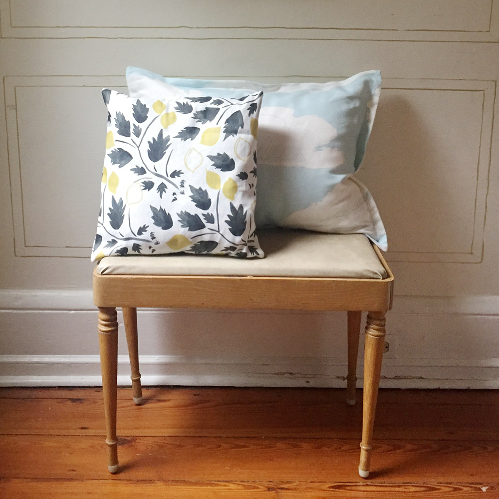 Our  Lemon Grove  &  Partly Cloudy  fabrics made up as throw pillows.