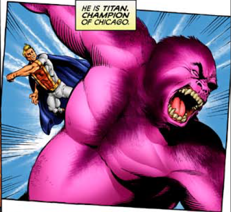 Because I can... here is a picture of Titan punching a giant purple gorilla!
