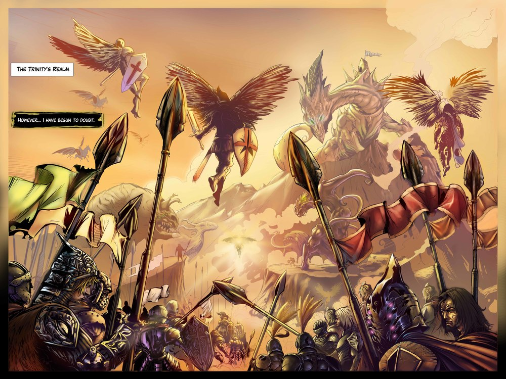 A large two-page style spread from the comic. Good example of interior art.