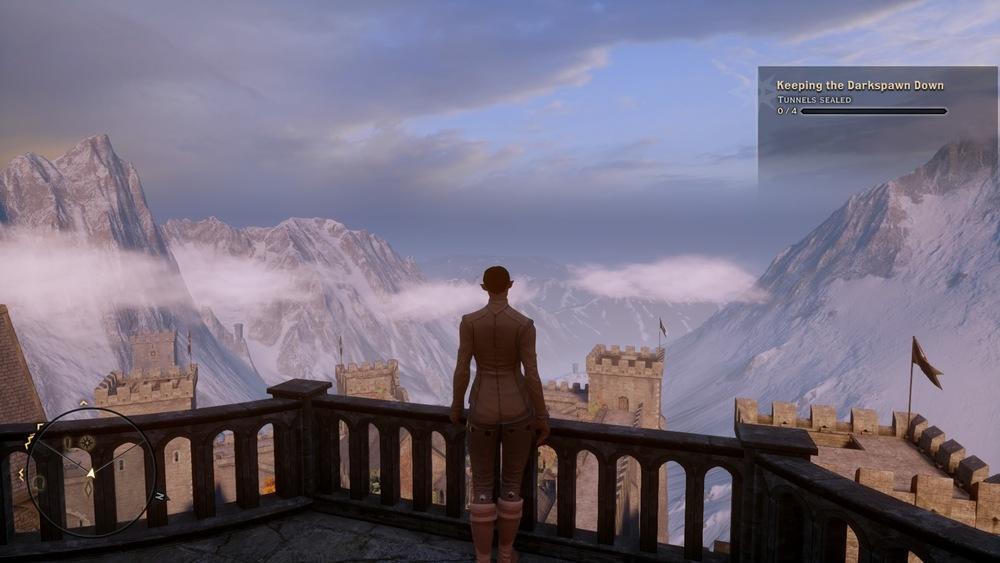 My Qunari rogue surveys her stronghold.