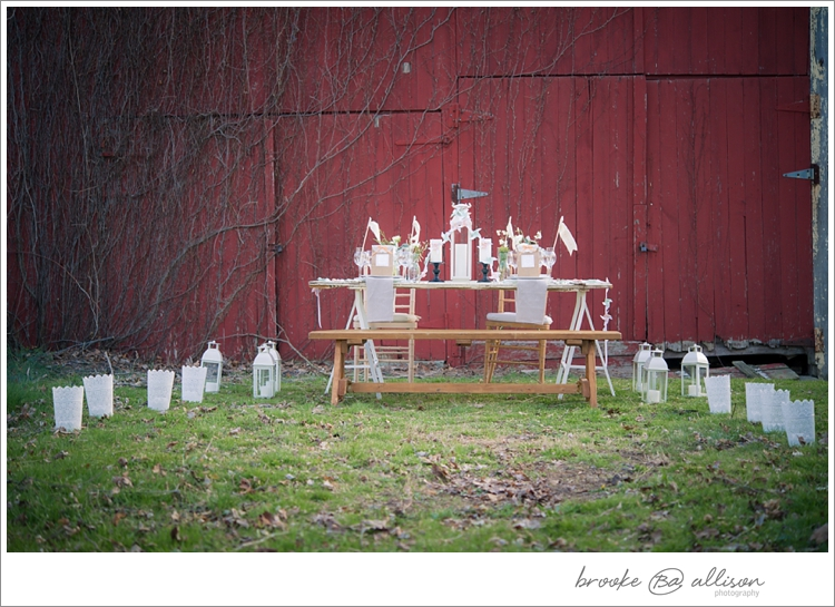 Tablescape:  Barn door on top of two Ikea legs.   Decor:  Amy Champagne Stock of Stuff    Rentals: Flatware, Chargers, Plates, Bench and Chairs -  Party Rental Ltd.  (and on display at The Wedding Loft)  Inspiration: The Wedding Loft Colors + Cowboy Boots worn by my beautiful bride!