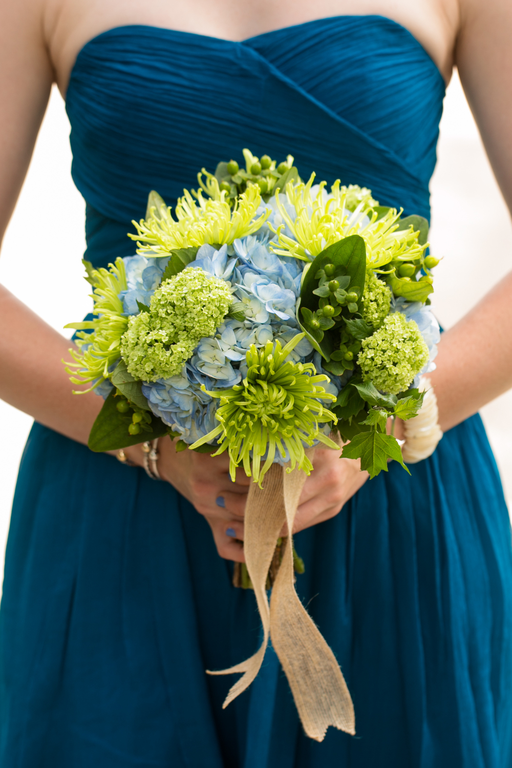 blue and green bridesmaid bouquet