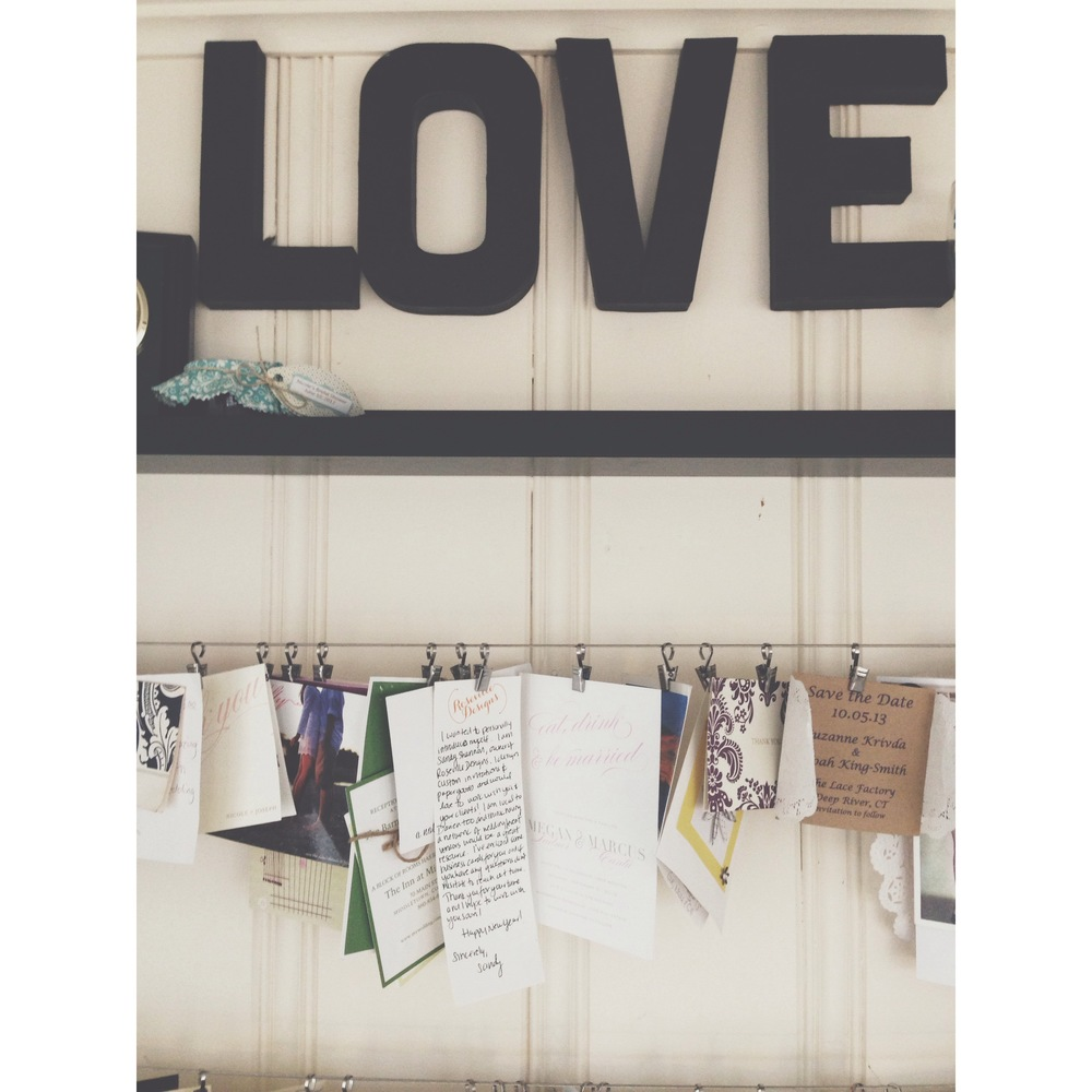 The handwritten note hangs on my LOVE wall at my home office, along with notes and invitations from my incredible clients lots designed by Sandy!