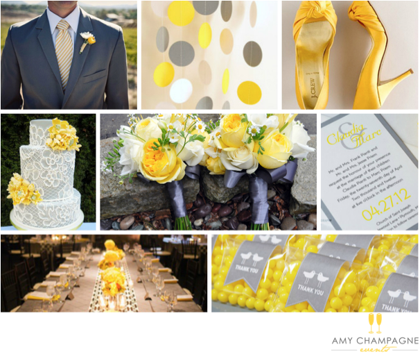 Grey and Yellow Wedding Decor