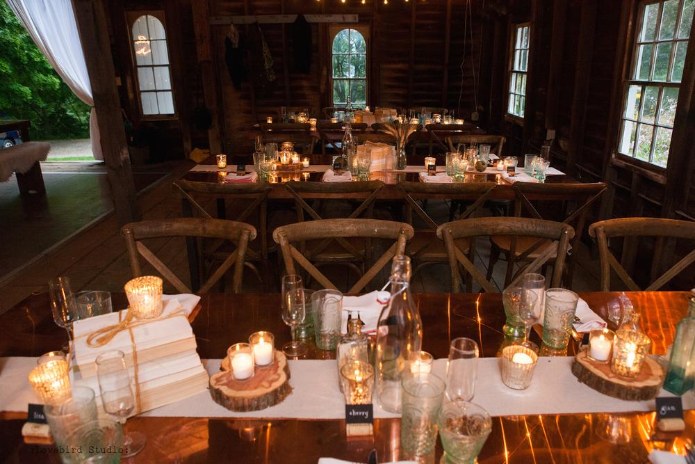 Rustic Barn Wedding Copper Tables