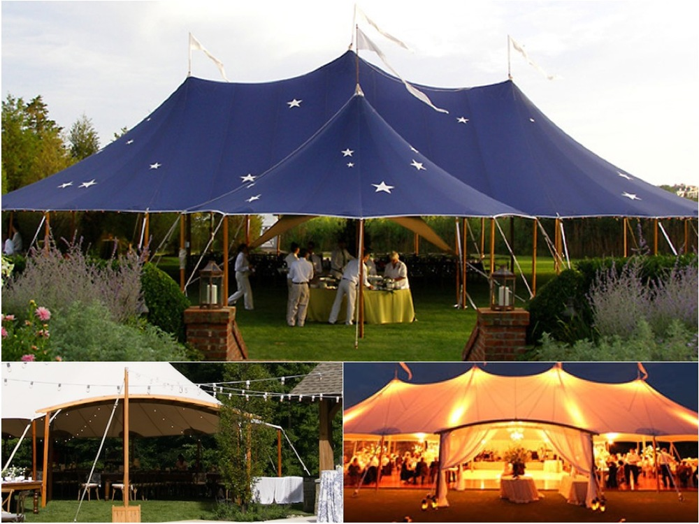 Blue Star Tent Detail with Arched marquee entry