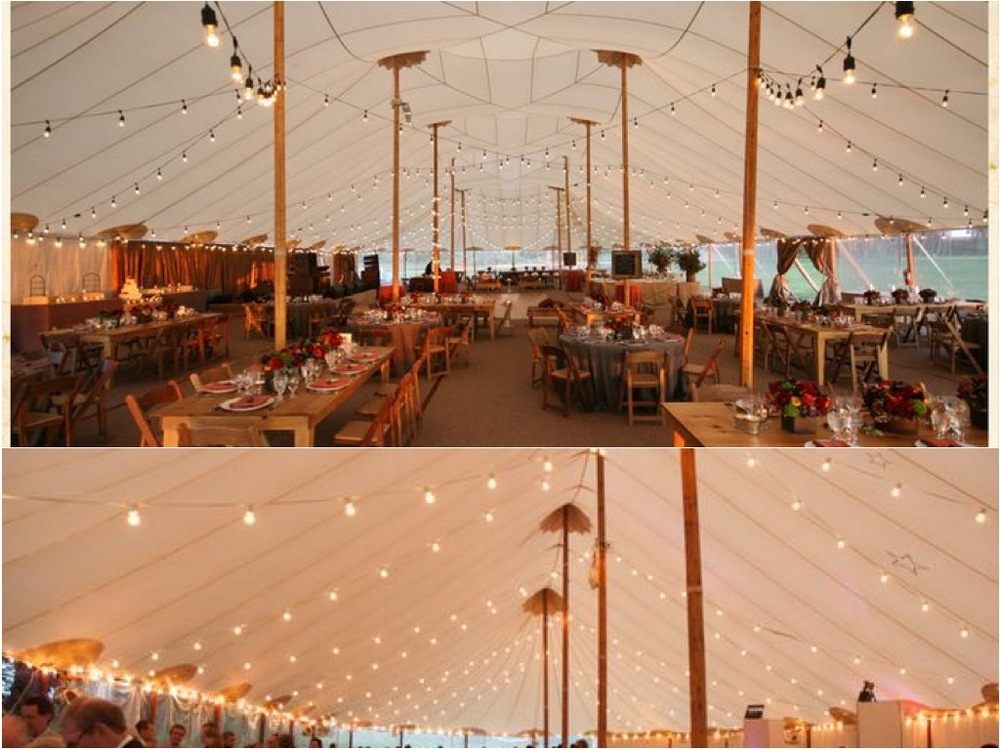 Main Source of Lighting Detail - Bistro lights strung throughout the tent.