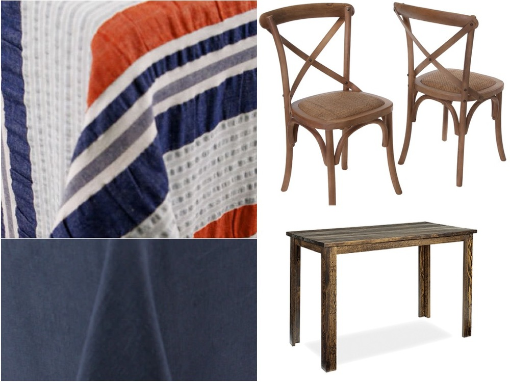 For the high top tables we propose a nautical multi color striped linen with a solid navy linen for the tables with chairs. For the chairs we propose wood cross back chairs and finally we propose wood pub table as a high top alternative.