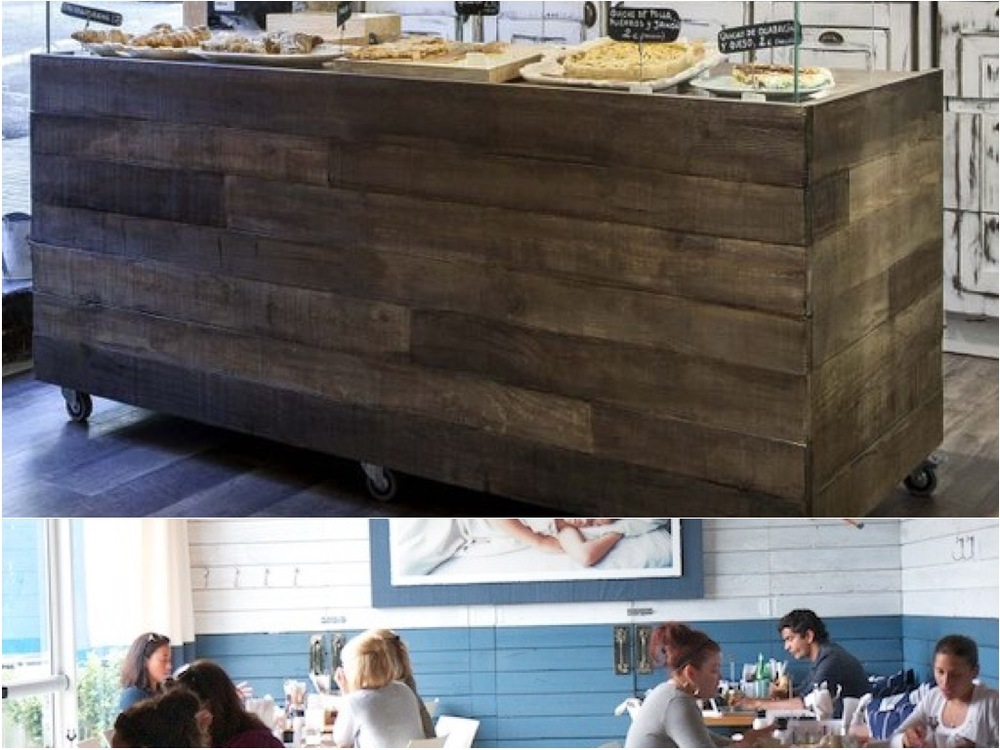 For the bar facade, we propose custom reclaimed driftwood looking wood facades. Possibly painted with a white wash and mod thick navy blue stripe on the bottom. Additionally we propose the Steelpointe Brand burned into the wood.