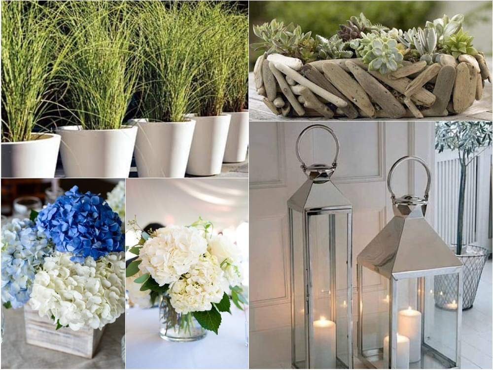 We are proposing small flower arraignments that consist of hydrangeas and lots of textual greens different style driftwood boxes with the Steelpointe brand burnt in. We also propose tall potted seagrasses and silver lanterns to layer the entry and perimeter of the tent.
