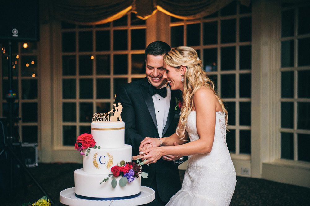 CT Wedding Inn at Longshore Amy Champagne Events Reception at Inn at Longshore Cake Cutting