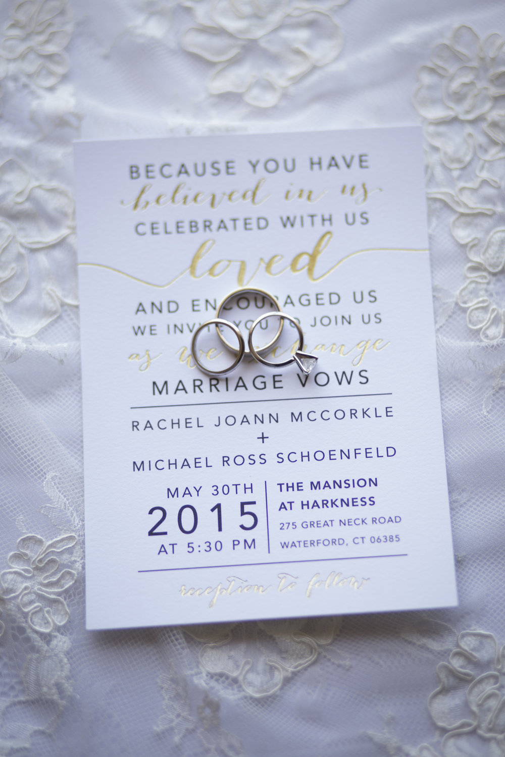 CT Wedding Eolia Mansion Amy Champagne Events Wedding Invitation, Wedding Rings