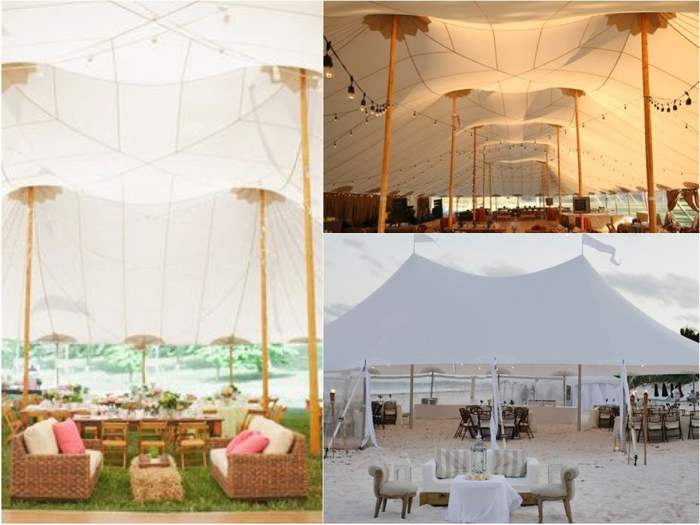 We are proposing a dual pole sailcloth tent with the dance floor in the center.