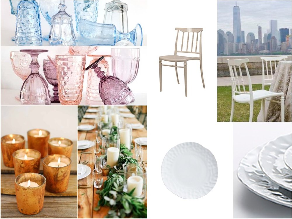 For the tablescape foundations - we propose a few constants. Mismatched vintage glassware is a must! A bone chair with turned spindles for a delicate but different look, copper votives and glass hurricanes with pillar candles as well as the organically shaped ceramic dinner plate to serve as a neutral charger plate at each placesetting.