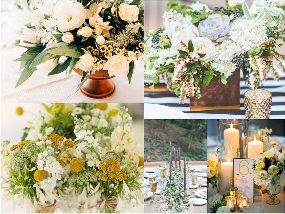 On the round tables we propose a copper container, either a footed compote or something more geometric with a collection wild flowers and fluffy flowers such as queen anne's lace, wax flowers, lily of the valley, mini daisies, david austin roses, and dahlias in addition to textural greens such as seeded eucalyptus etc. I would also like to see grey brought in through the flowers with a grey succulent or two, dusty miller and grey brunia.