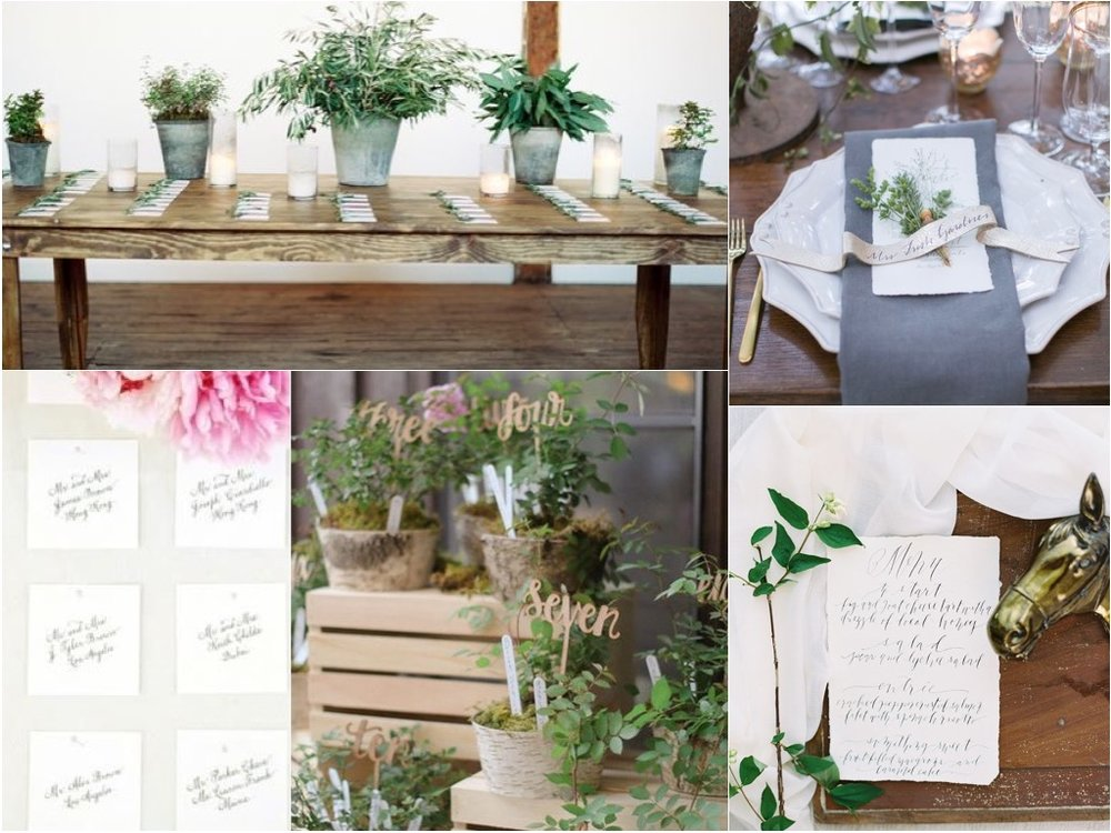 For the escort cards  and the menus we propose deckled edge paper with a handwritten, very organic but pretty and simple look. For the escort cards we propose more greenery and some potted herbs etc on a farm table with the cards laid out during the cocktail hour. **we may need to weight them with a rock or something weather depending.