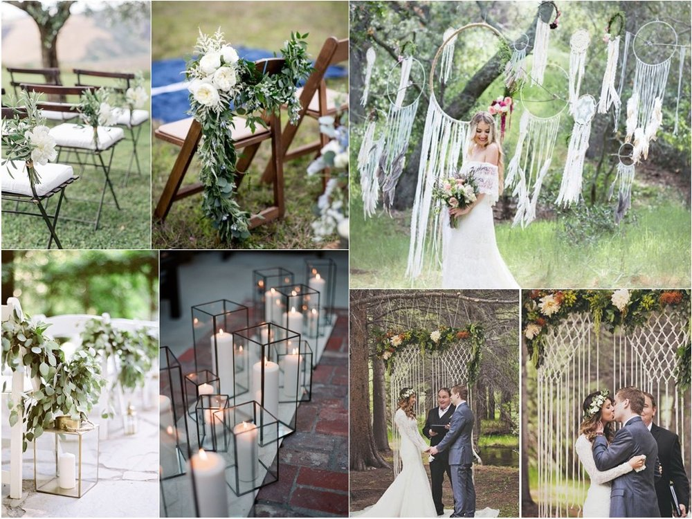 for the ceremony - either by pipe and drape or suspended by the tree as discussed we propose the macrame backdrop - either with the hoop to tie in the ceiling decor from the tent or something more traditional.