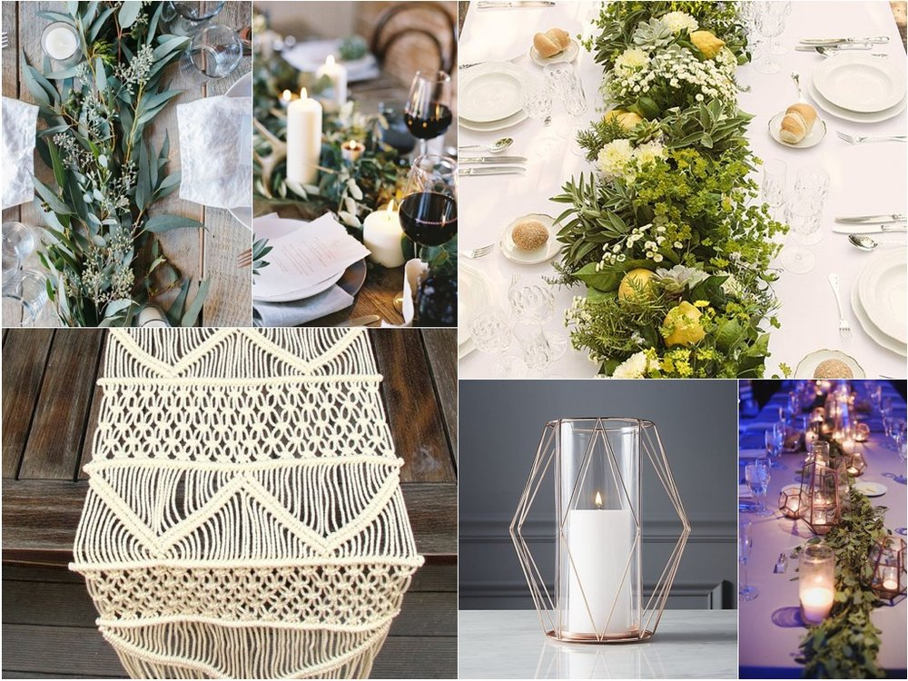 For the long tables we propose super textual greenery with the same palate of flowers peppered in. Along with the votives and hurricanes we propose a couple geometric copper hurricanes with more candlelight!