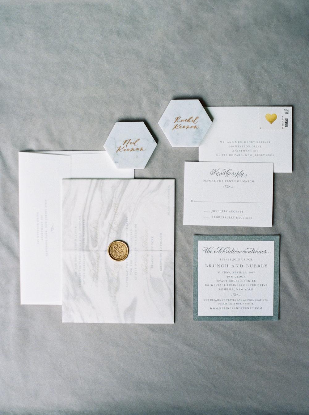 Marble escort cards invitation suite