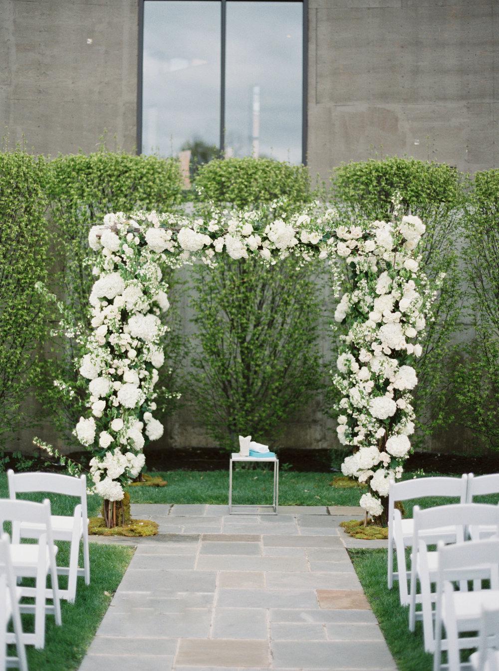 White and green Chuppah NYC Wedding